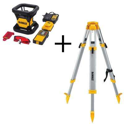 20-Volt Lithium-Ion Red Rotary Laser Level with Bonus Construction Tripod