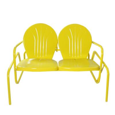 47 in. Plastic Yellow Retro Tulip Double Outdoor Glider Chair
