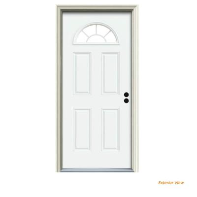 36 in. x 80 in. Fan Lite White Painted Steel Prehung Left-Hand Inswing Front Door w/Brickmould