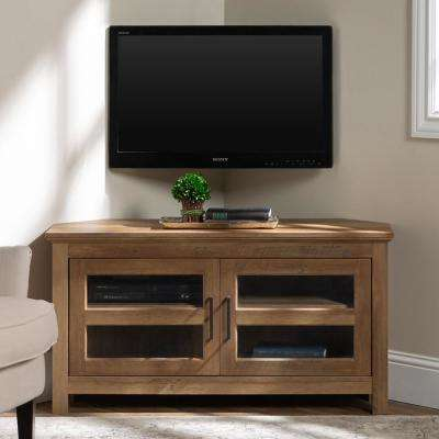 44 in. Rustic Oak Corner Wood TV Console