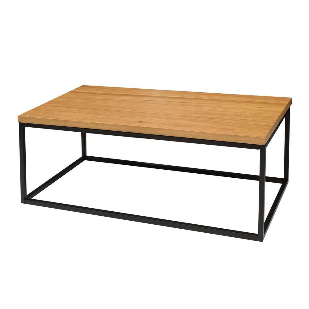 Nathan James Doxa Natural Oak With Matte Black Metal Frame Coffee Table