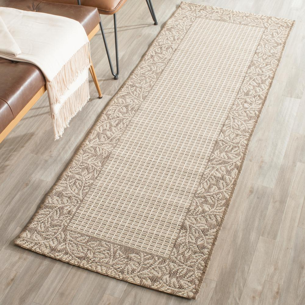 Safavieh courtyard natural brown 2 ft x 7 ft indoor for Indoor outdoor runners rugs