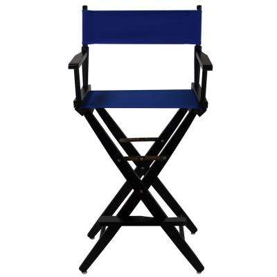 30 in. Extra-Wide Black Wood Frame/Royal Blue Canvas Seat Folding Directors Chair