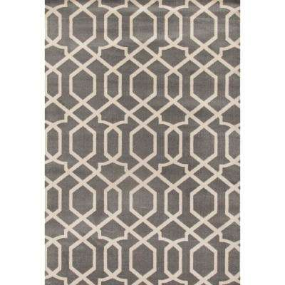 Contemporary Modern Trellis Gray 3 ft. 3 in. x 5 ft. Indoor Area Rug