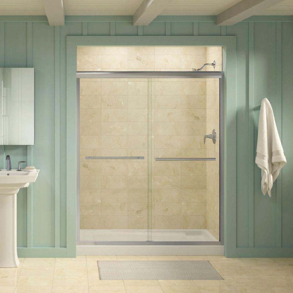 Gradient 59-5/8 in. x 70-1/16 in. Semi-Frameless Sliding Shower Door in