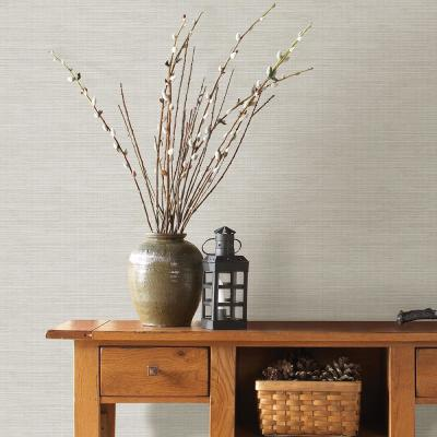 56.4 sq. ft. Kent Light Grey Grasscloth Wallpaper