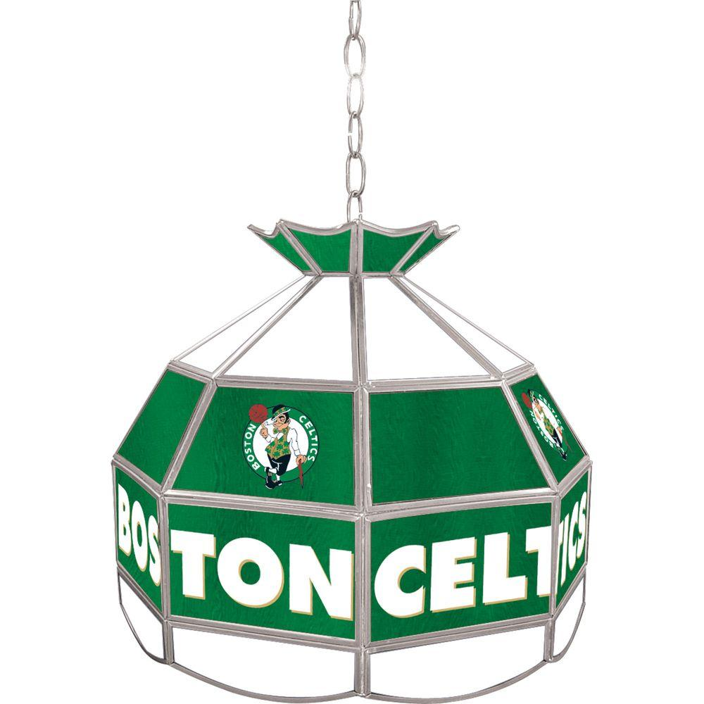 Boston Celtics NBA 16 in. Nickel Hanging Tiffany Style Lamp