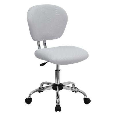 Mid Back White Mesh Swivel Task Chair With Chrome Base
