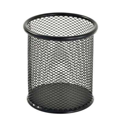 3.5 in. W x 4 in. H Round Wire Mesh Pencil Cup, Black
