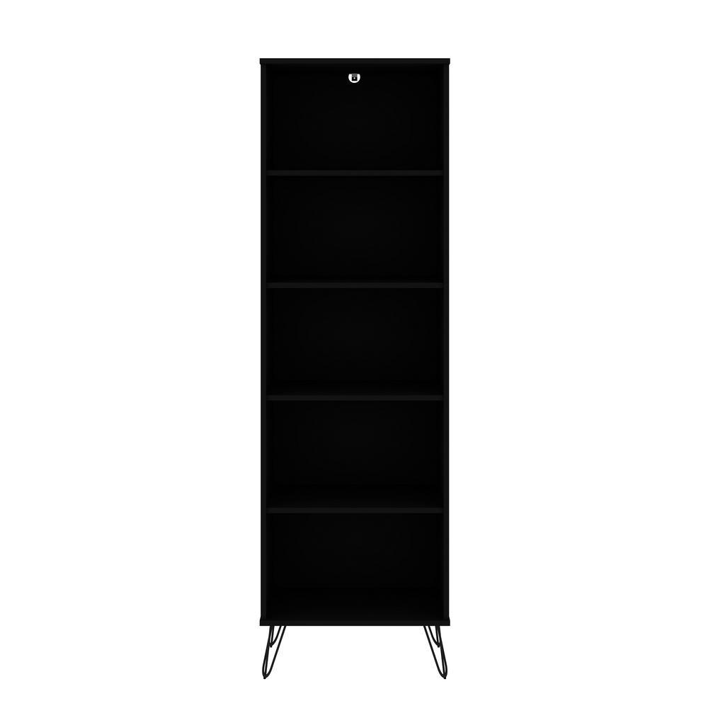 Rockefeller 69.29 in. Black 5-Shelf Bookcase 2.0