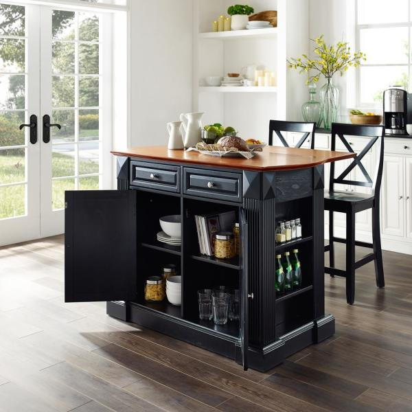 Coventry Black Kitchen Island with x-Back Stools