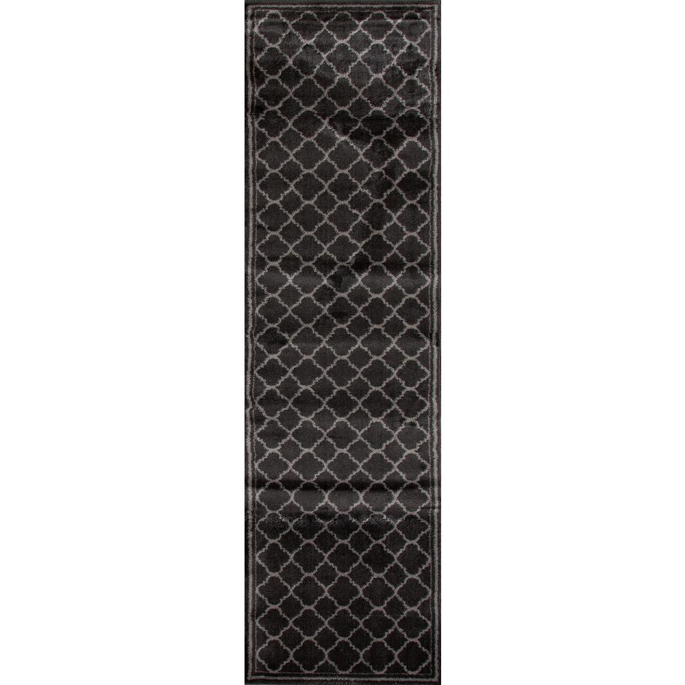 Trellis Contemporary Modern Dark Gray 2 ft. x 7 ft. Indoor Runner Rug