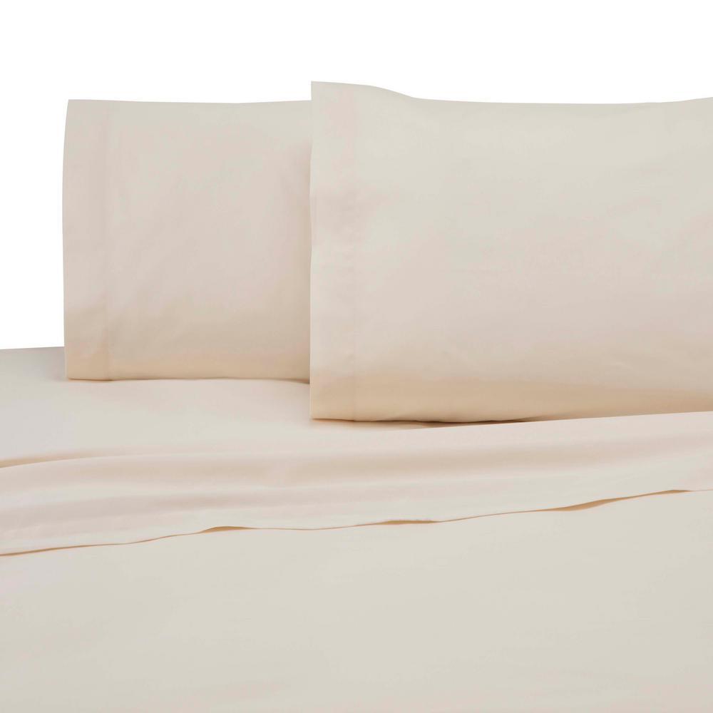 Martex 225 Thread Count Ivory Cotton Queen Sheet Set 028828991607