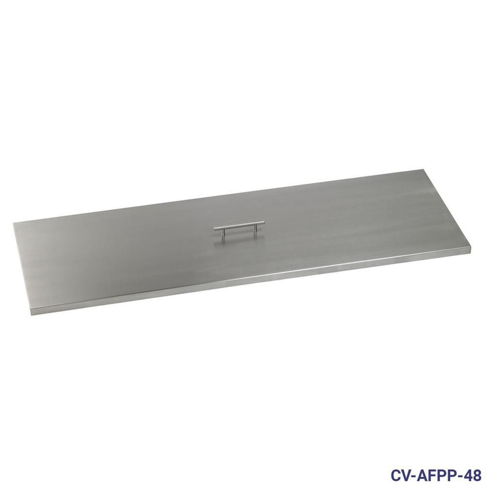 48 in. x 14 in. Stainless Steel Cover Rectangular Drop-In Fire
