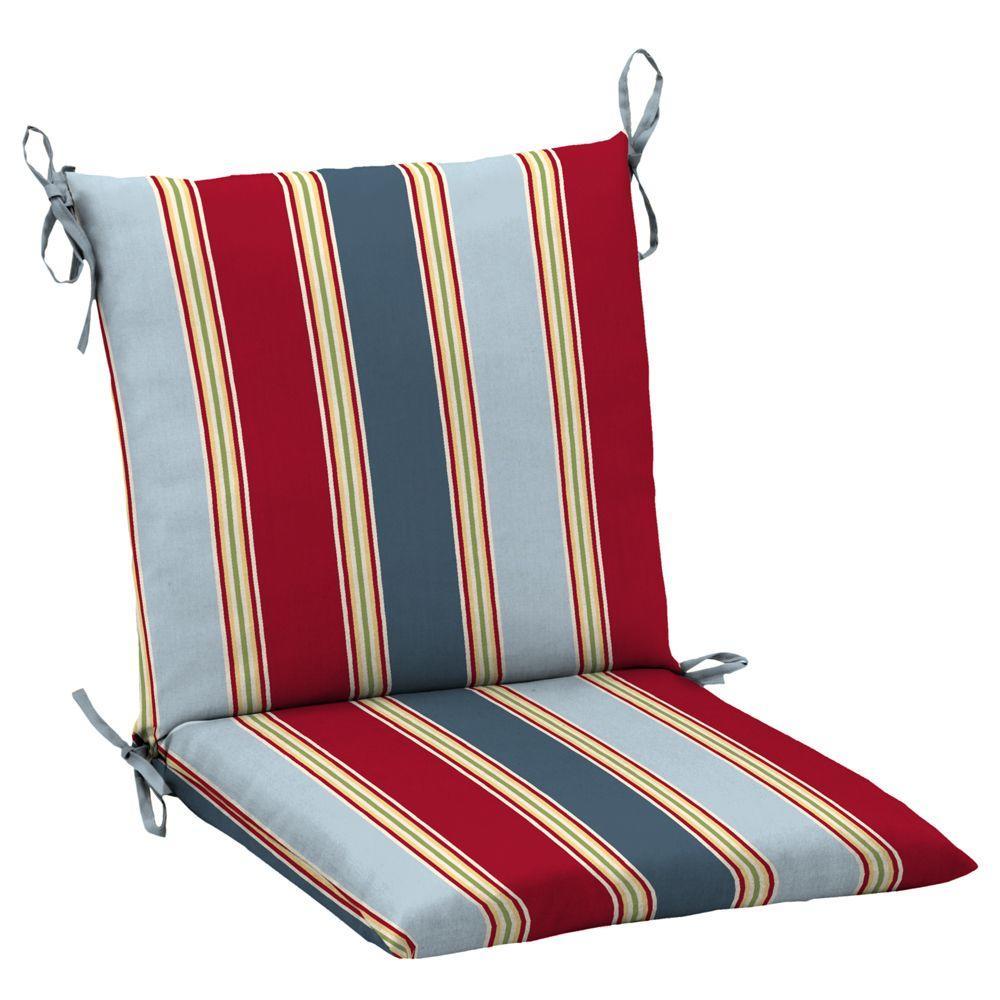 Hampton Bay Jordan Stripe Mid Back Chair Cushion-DISCONTINUED