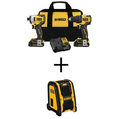 ATOMIC 20-Volt MAX Cordless Brushless Compact Drill/Impact Combo Kit (2-Tool) with 20-Volt/12-Volt Max Bluetooth Speaker