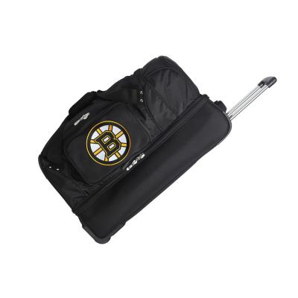 Denco NHL Boston Bruins 27 in. Black Rolling Bottom Duffel Bag