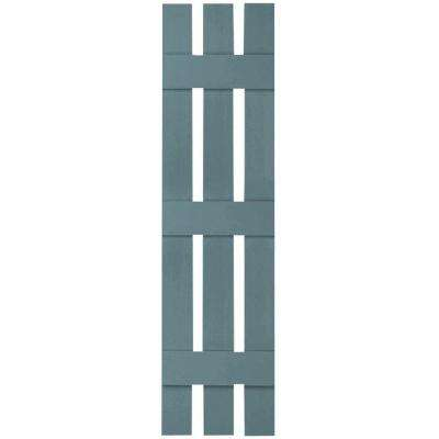 12 in. x 63 in. Lifetime Vinyl Standard Three Board Spaced Board and Batten Shutters Pair Wedgewood Blue