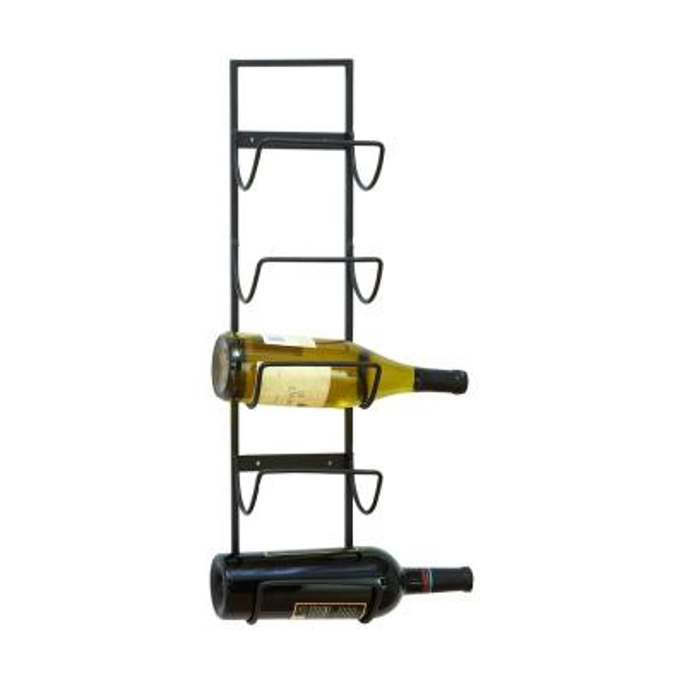 Gray Iron Wall Mount 5-Wine Bottle Storage Rack