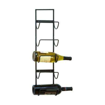 Gray Iron Wall Mount 5-Wine Bottle Storage Rack