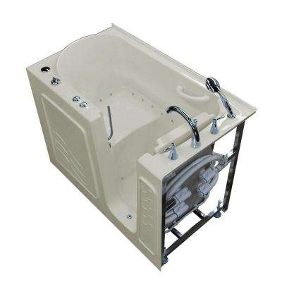 HD Series 53 in. Right Drain Quick Fill Walk-In Air Bath Tub with Powered Fast Drain in Biscuit