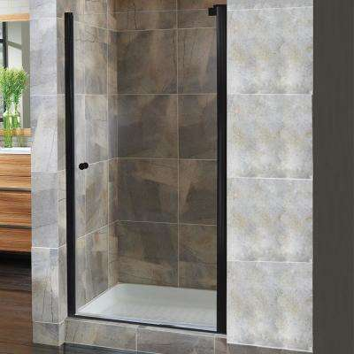 Cove 22.5 in. to 24.5 in. x 72 in. H Semi-Framed Pivot Shower Door in Oil Rubbed Bronze with 1/4 in. Clear Glass