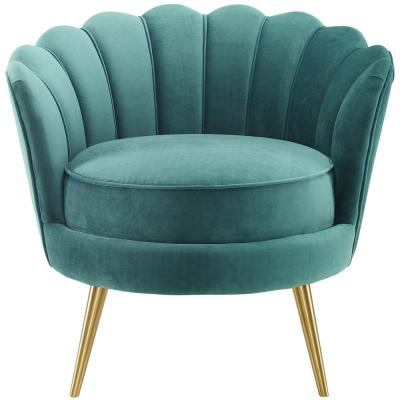 Admire Teal Scalloped Edge Performance Velvet Accent Armchair