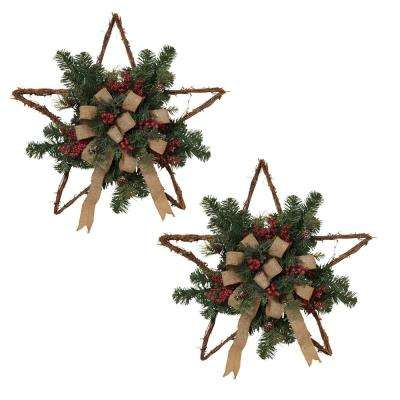 S/2 24 in. L Twig Holiday Stars
