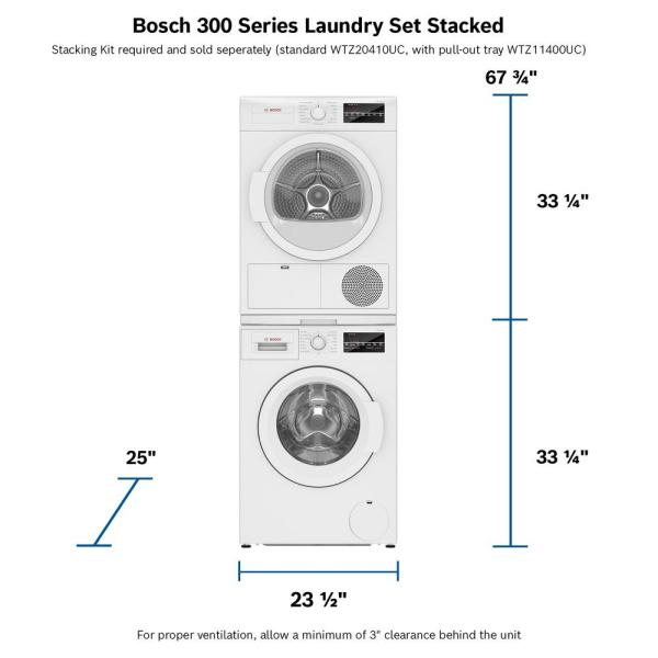 Bosch 300 Series 24 In 2 2 Cu Ft 240 Volt White High Efficiency Front Load Compact Washer Energy Star Wat28400uc The Home Depot