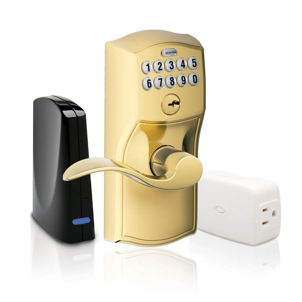 Schlage Bright Brass Keypad Lever Home Security Kit with Nexia Home Intelligence