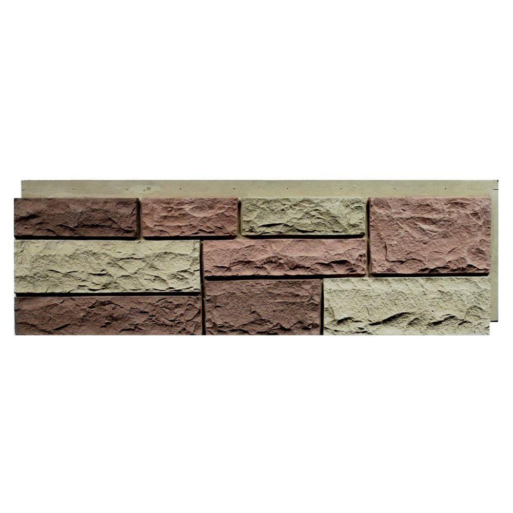 Random Rock 15.5 in. x 48 in. Faux Stone Siding Panel in Tri Sedona Red (4-Pack)