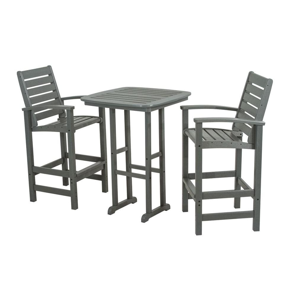Signature Slate Grey 3-Piece Plastic Outdoor Patio Bar Set