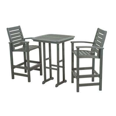 Signature Slate Grey 3-Piece Patio Bar Set