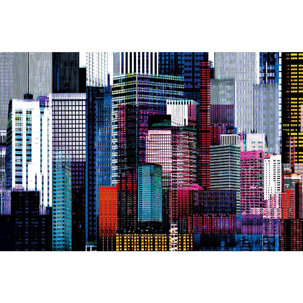 Ideal Decor 45 in. x 69 in. Colorful Skyscrapers Wall Mural