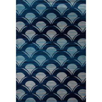 Seaport Waves Navy 5 ft. x 8 ft. Area Rug
