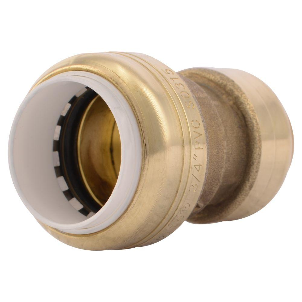 SharkBite 3/4 in. Push-to-Connect PVC IPS x CTS Brass Conversion Coupling Fitting