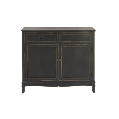New Traditional 36 in. x 40 in. Black Wooden Cabinet