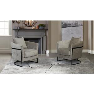 Swan Contemporary Beige Fabric Upholstered Accent Chair