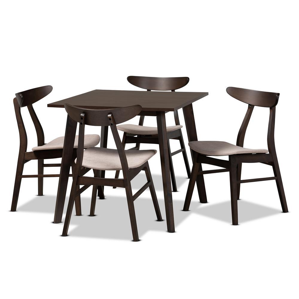 Britte 5-Piece Beige Upholstered Wood Dining Set