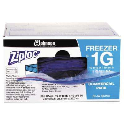 1 Gal. 2.7 mil 10.56 in. x 10.75 in. Clear Double Zipper Freezer Bags (250/Carton)