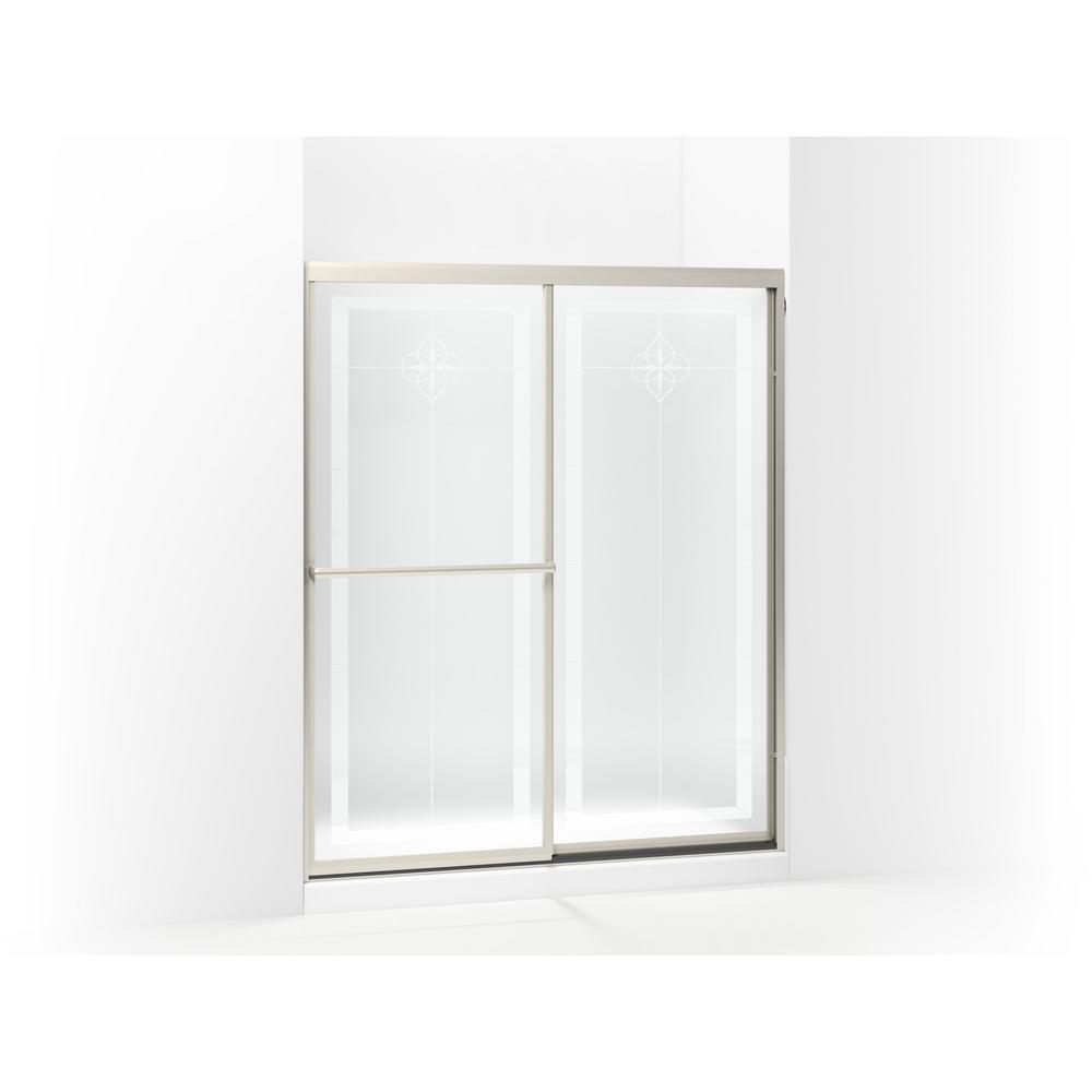 Prevail 59-3/8 in. x 70-1/4 in. Framed Sliding Shower Door in Nickel with Handle