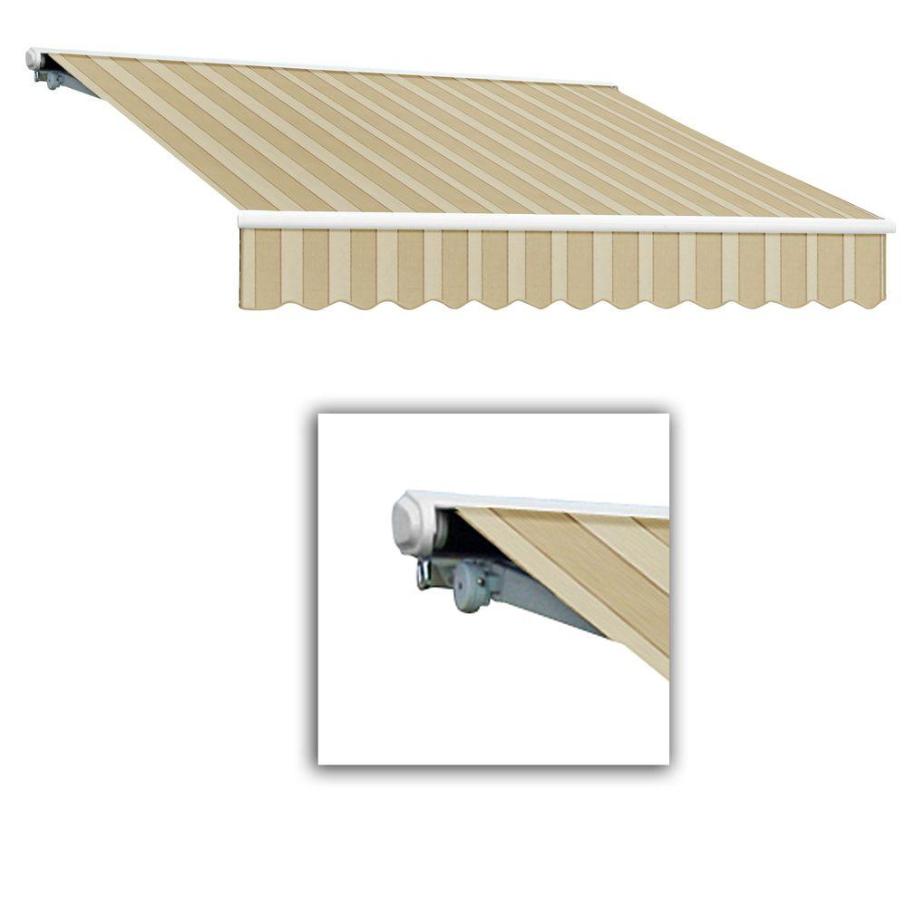 AWNTECH 24 ft. Galveston Semi-Cassette Right Motor with Remote Retractable Awning (120 in. Projection) in Linen/Almond/White