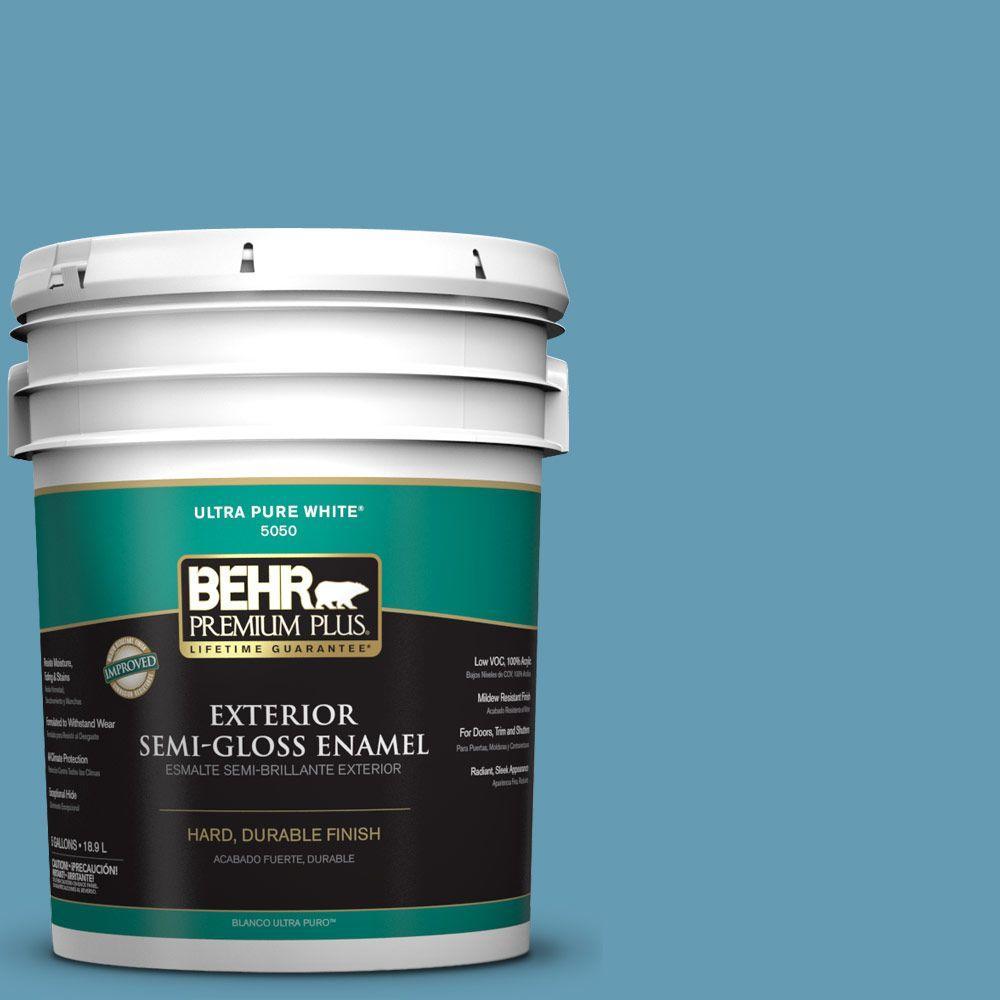 BEHR Premium Plus 5-gal. #S490-4 Yacht Blue Semi-Gloss Enamel Exterior Paint