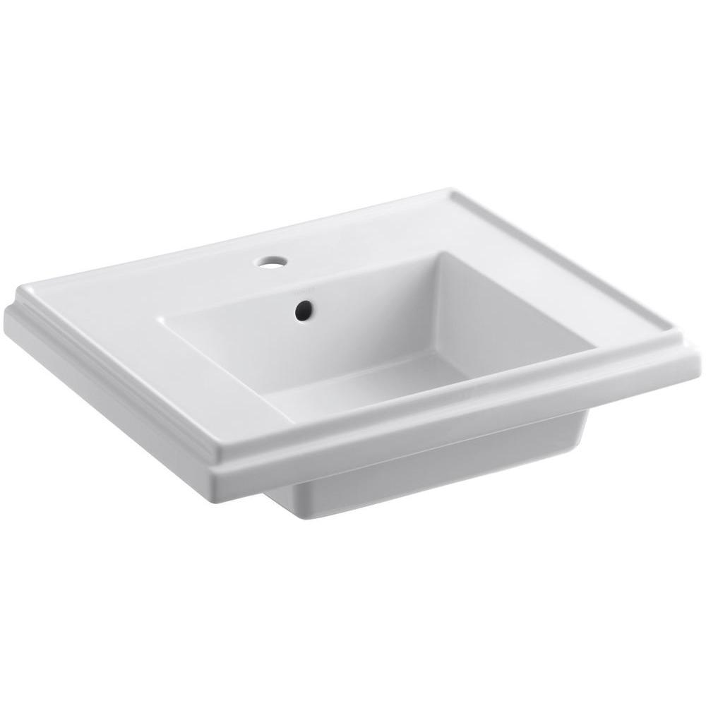 Tresham 24 in. Fireclay Pedestal Sink Basin in White with Overflow