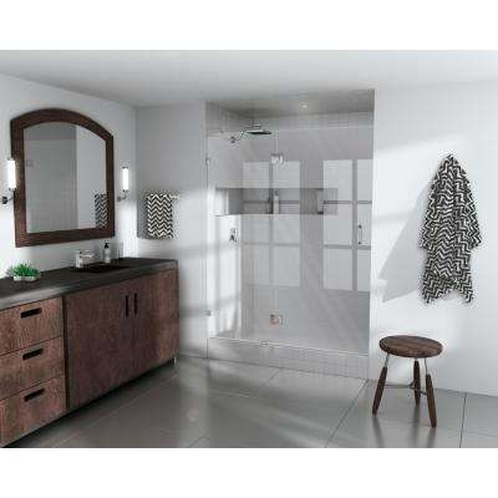 60 in. x 78 in. Frameless Glass Hinged Shower Door in Chrome