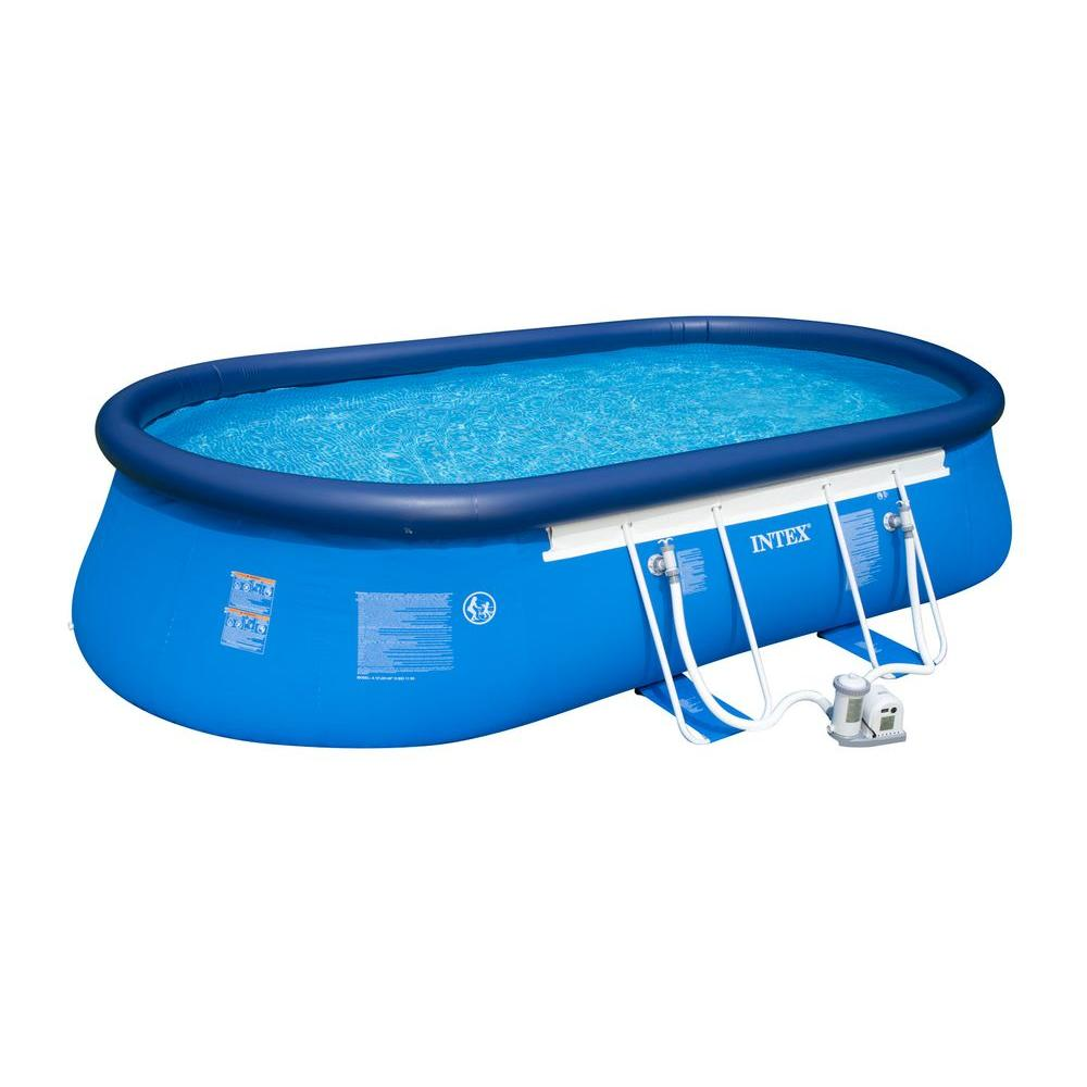 Intex 20 ft. x 12 ft. x 48 in. Oval Frame Pool Set