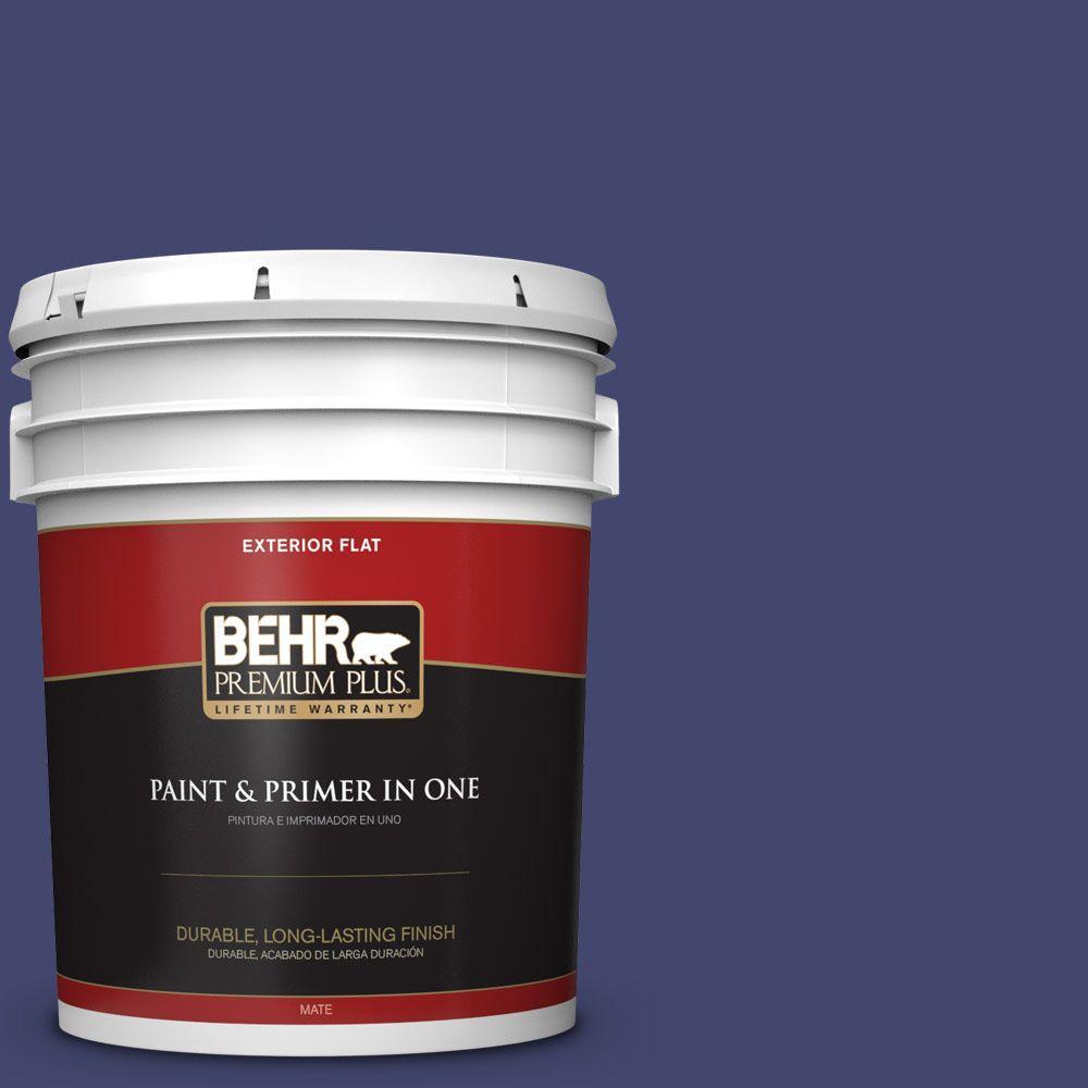 BEHR Premium Plus 5-gal. #T11-19 Starlit Night Flat Exterior Paint