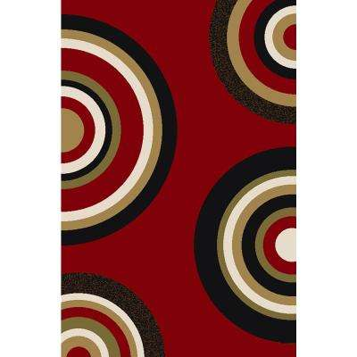 Ephes Collection Red 4 ft. 10 in. x 6 ft. 10 in. Area Rug