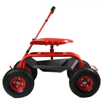 Red Steel Rolling Garden Cart with Extendable Steering Handle, Swivel Seat and Basket