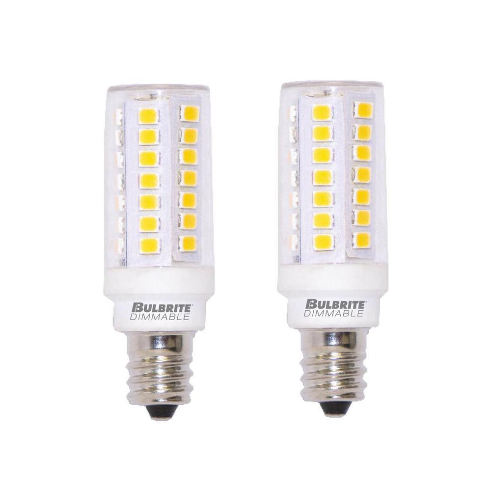 60-Watt Equivalent T6 Dimmable Mini-Candelabra LED Light Bulb Warm White Light (2-Pack)